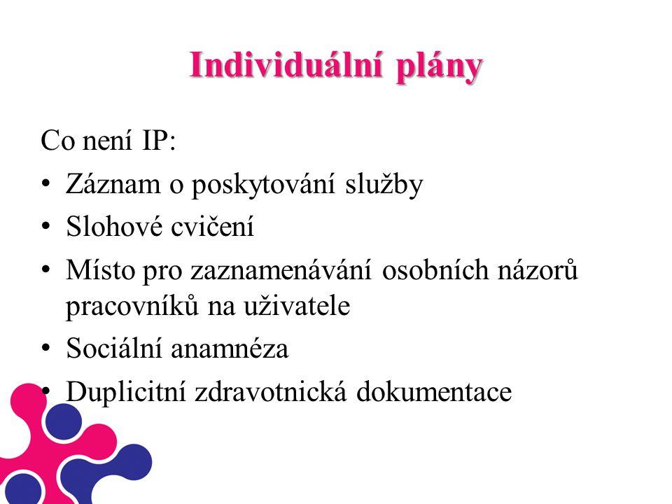 Individuální plány Co není IP: Záznam o poskytování služby