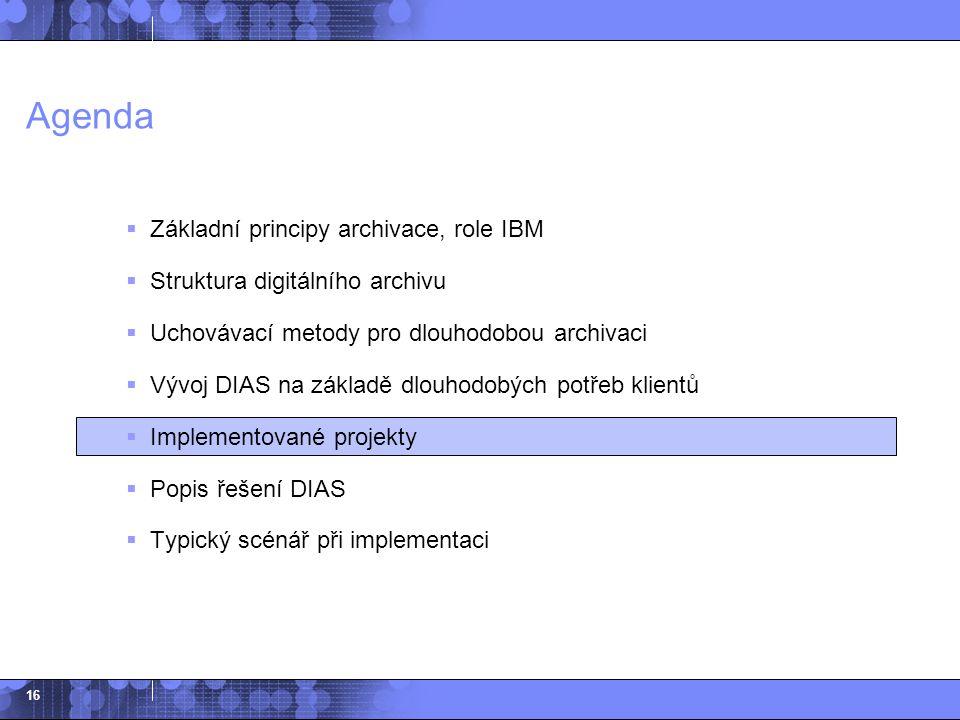 Agenda Základní principy archivace, role IBM