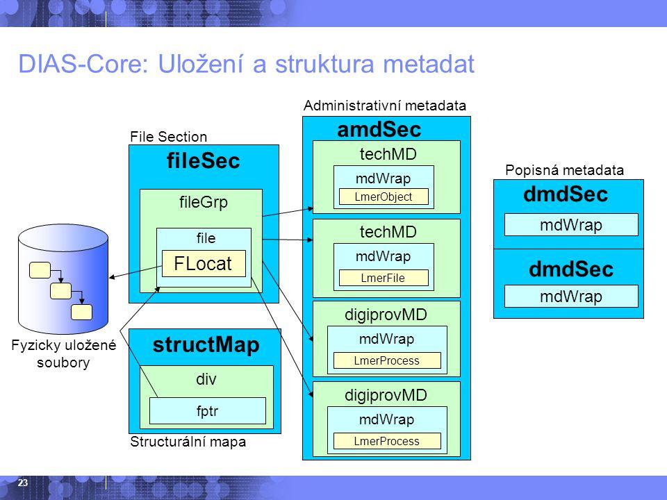 DIAS-Core: Uložení a struktura metadat