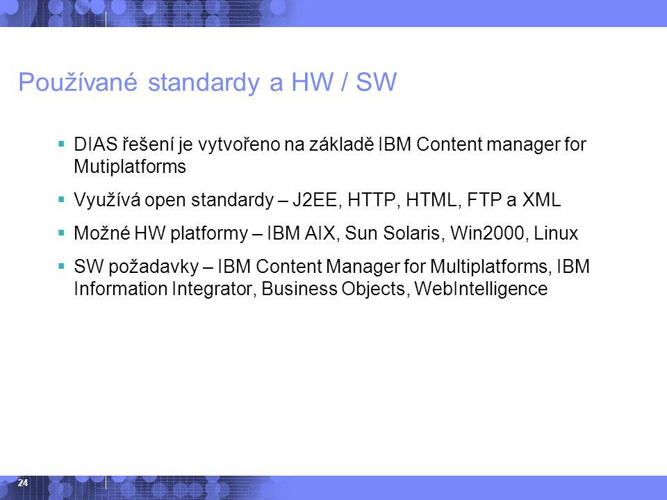 Používané standardy a HW / SW