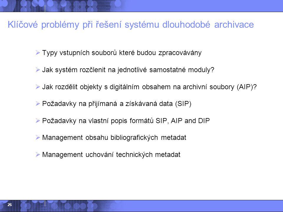 Klíčové problémy při řešení systému dlouhodobé archivace