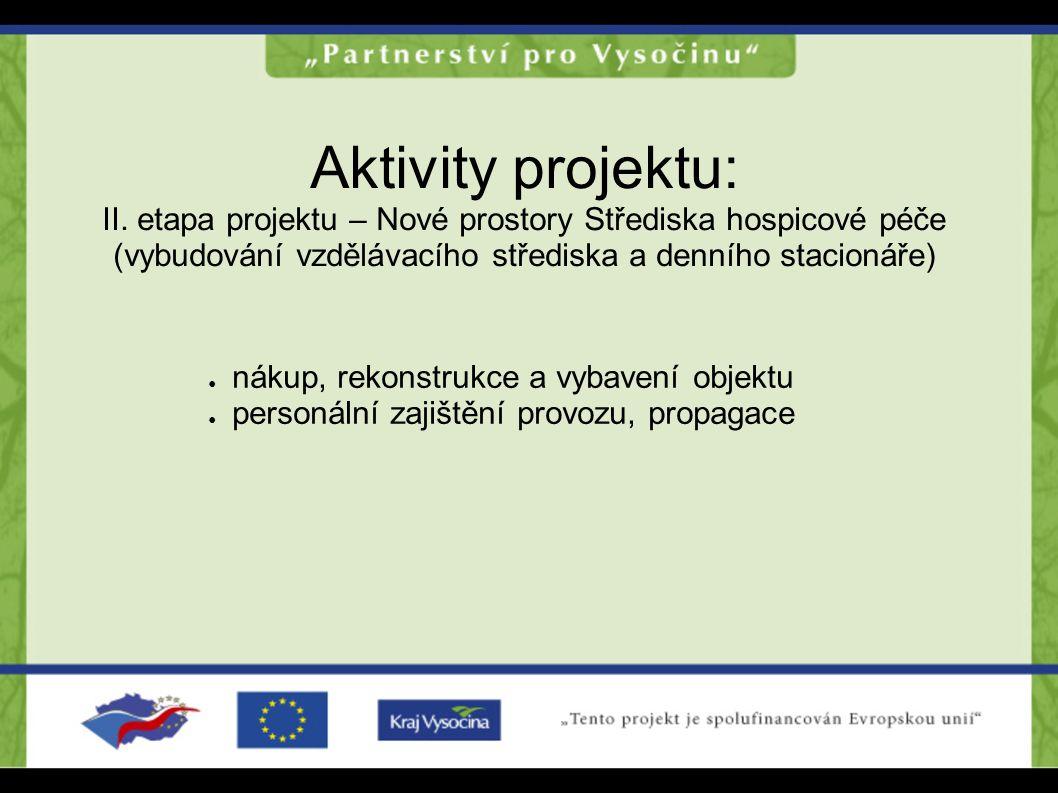 Aktivity projektu: II. etapa projektu – Nové prostory Střediska hospicové péče (vybudování vzdělávacího střediska a denního stacionáře)