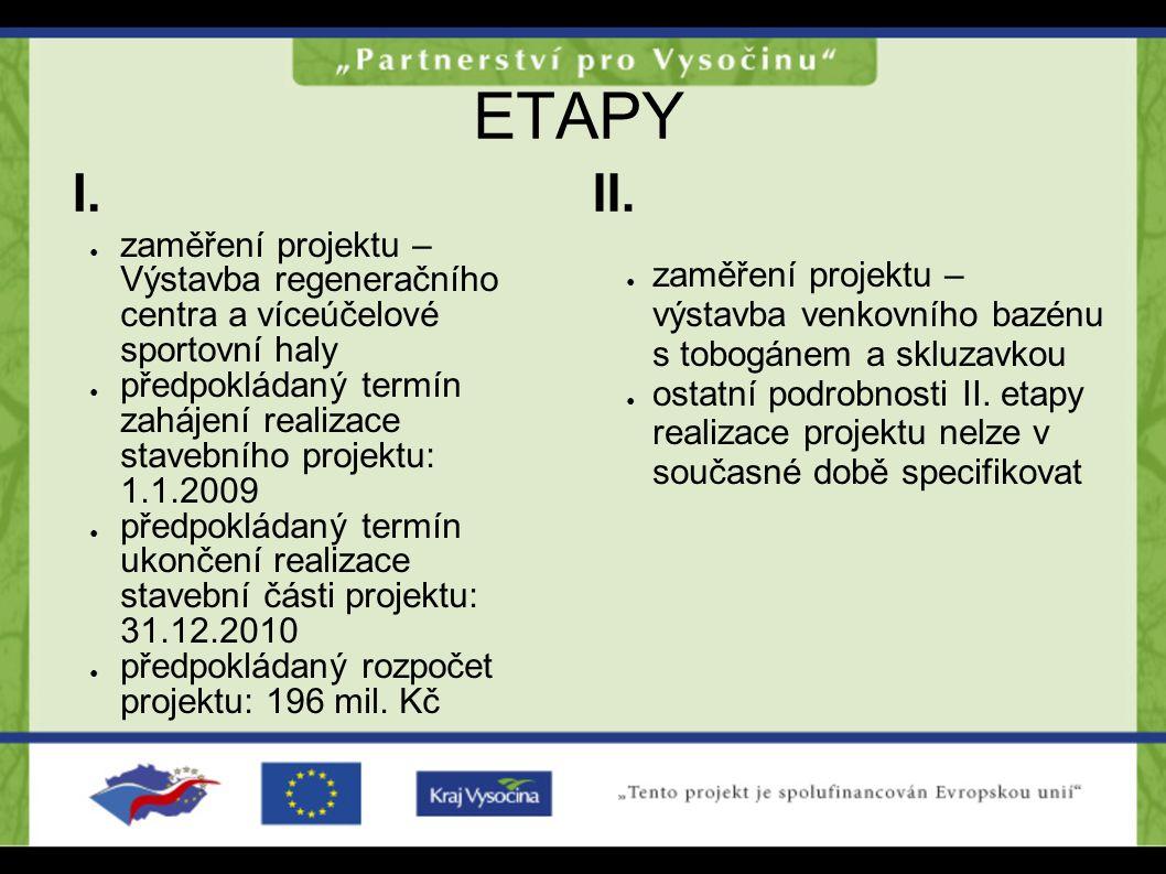 ETAPY I. II. zaměření projektu – Výstavba regeneračního centra a víceúčelové sportovní haly.