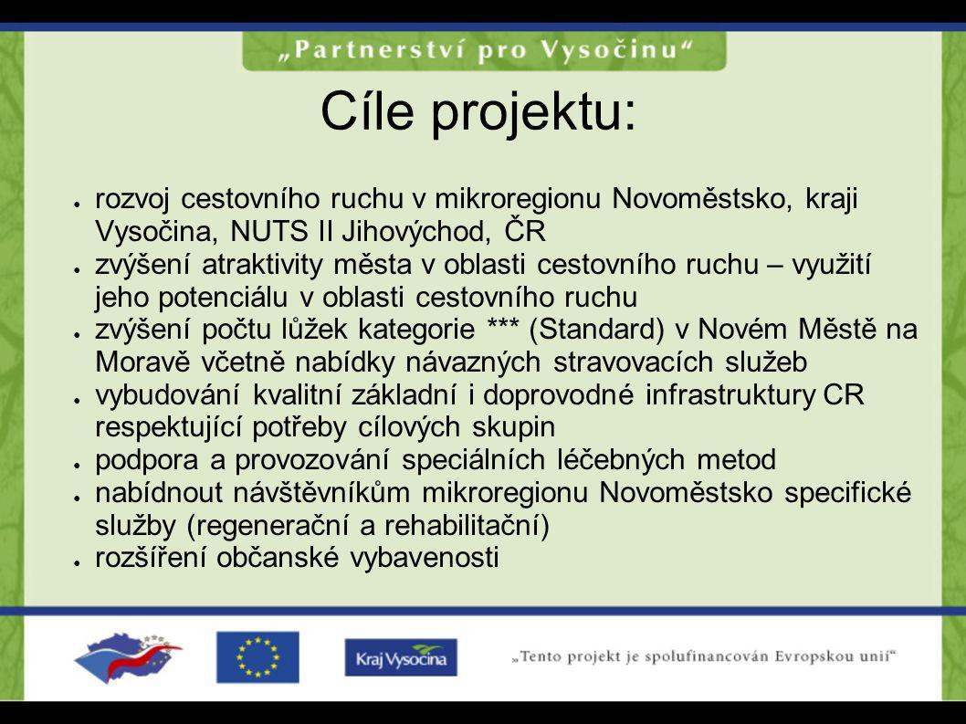Cíle projektu: rozvoj cestovního ruchu v mikroregionu Novoměstsko, kraji Vysočina, NUTS II Jihovýchod, ČR.