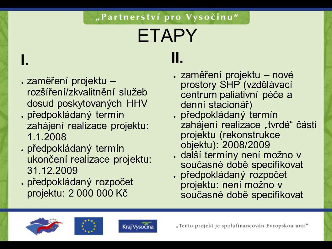 ETAPY II. I. zaměření projektu – nové prostory SHP (vzdělávací centrum paliativní péče a denní stacionář)