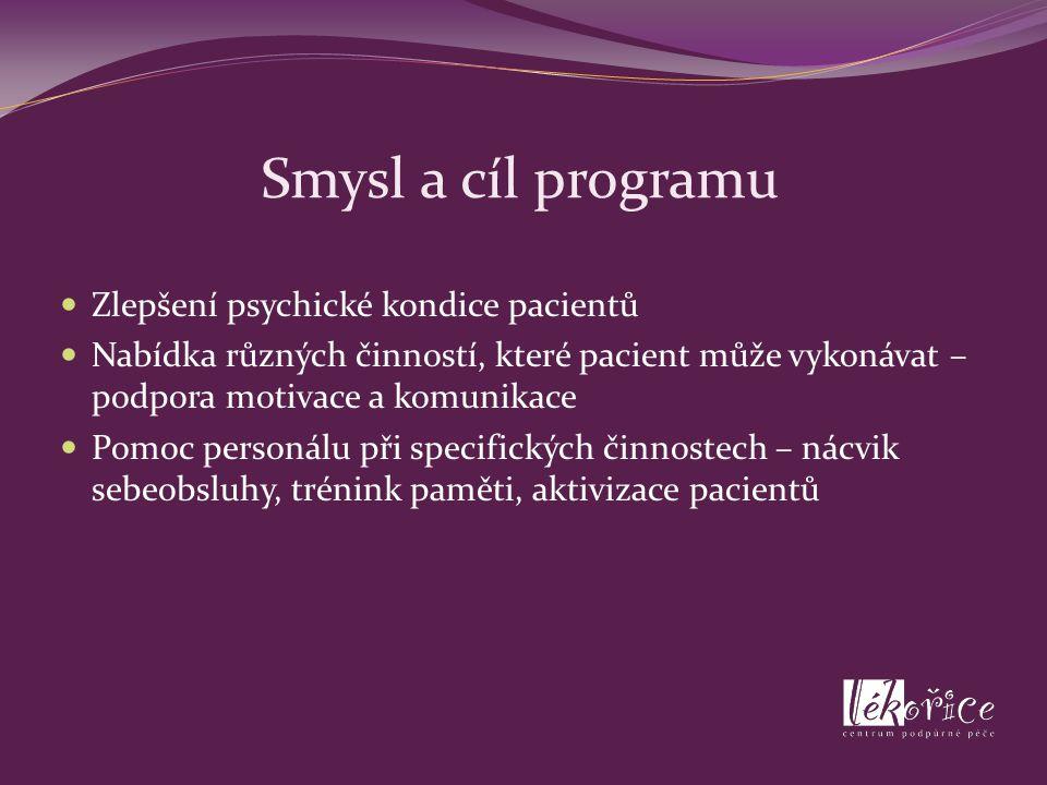 Smysl a cíl programu Zlepšení psychické kondice pacientů