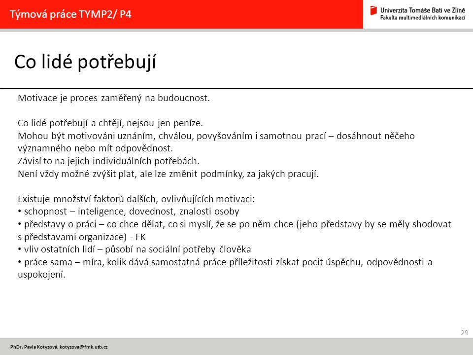 Co lidé potřebují Týmová práce TYMP2/ P4