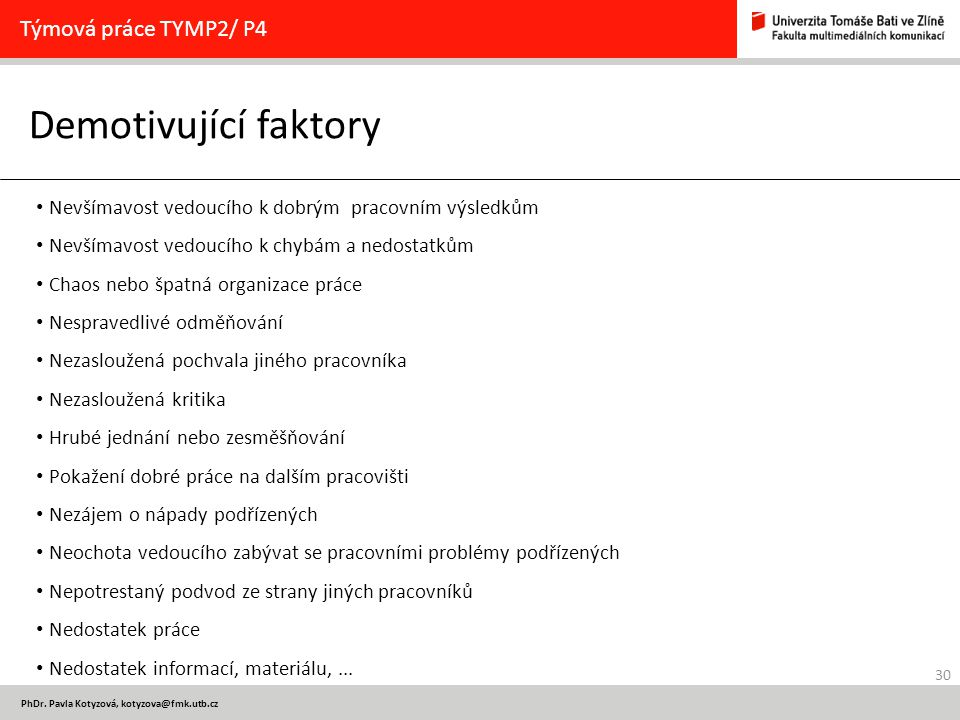 Demotivující faktory Týmová práce TYMP2/ P4