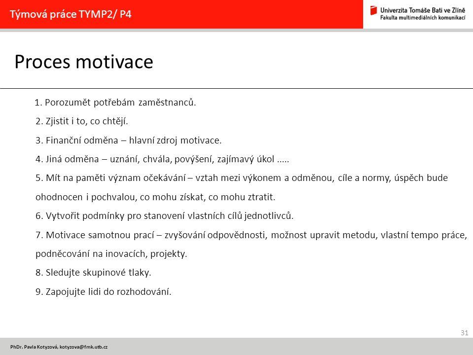 Proces motivace Týmová práce TYMP2/ P4