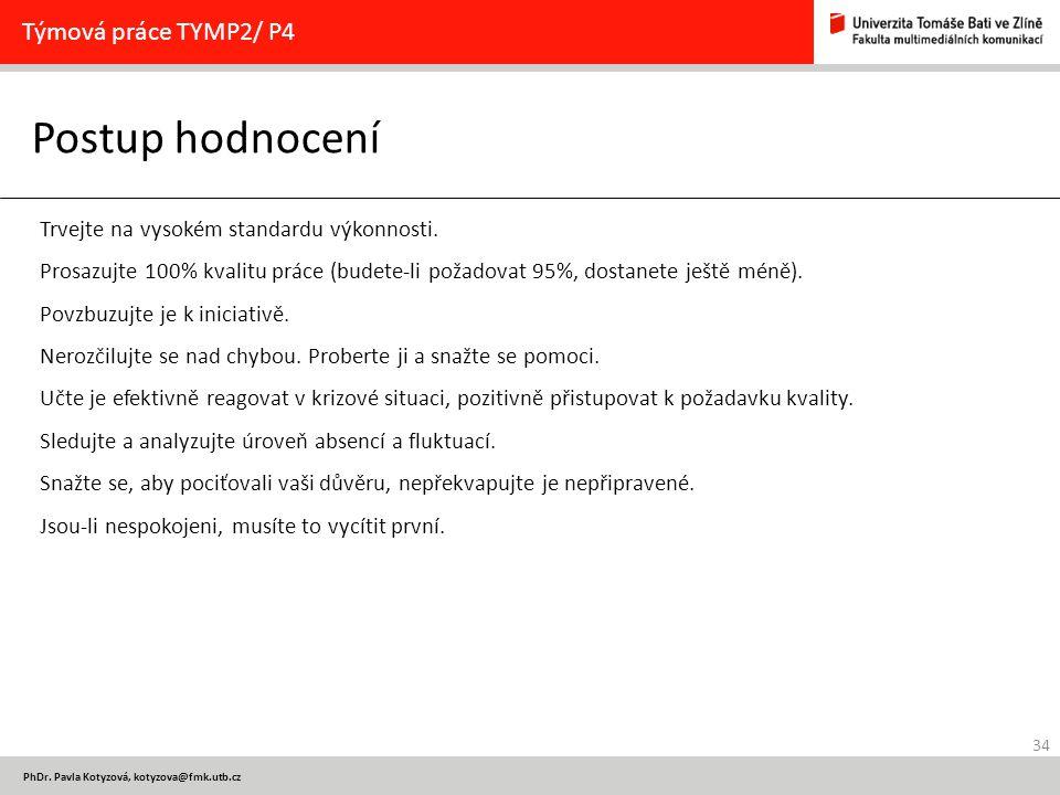 Postup hodnocení Týmová práce TYMP2/ P4