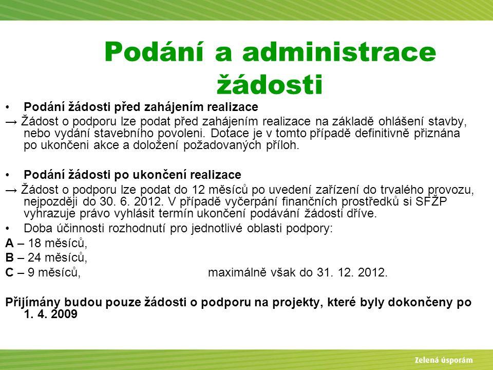 Podání a administrace žádosti