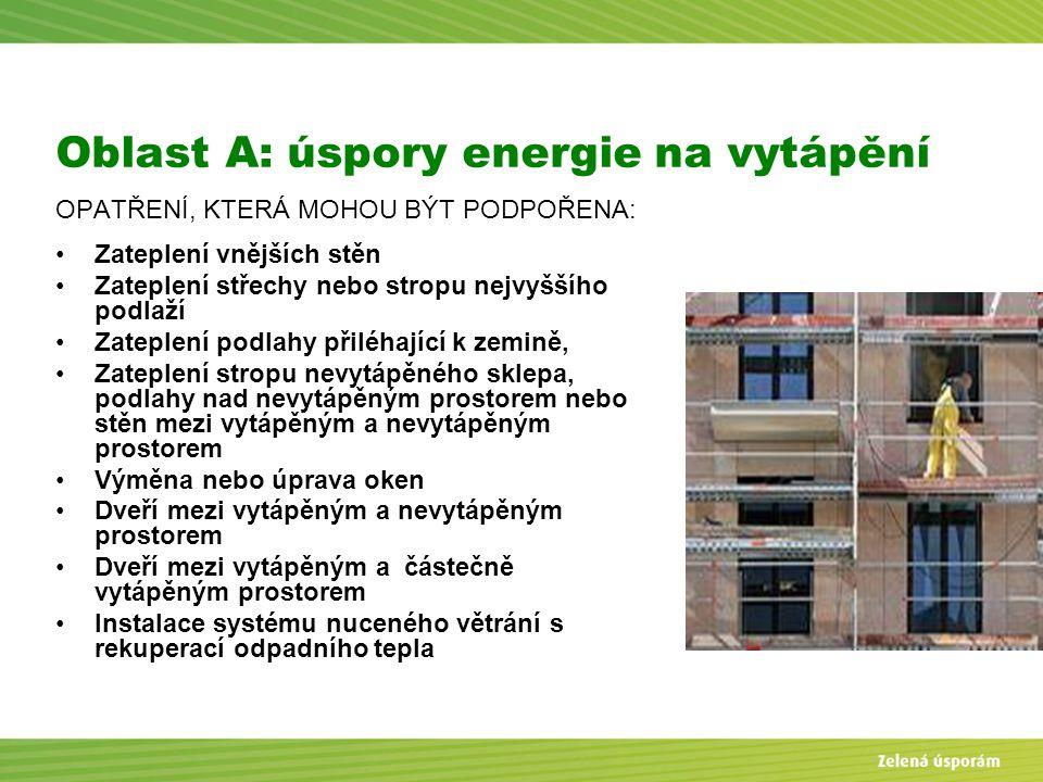 Oblast A: úspory energie na vytápění