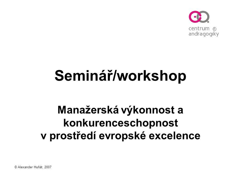 Seminář/workshop Manažerská výkonnost a konkurenceschopnost v prostředí evropské excelence.