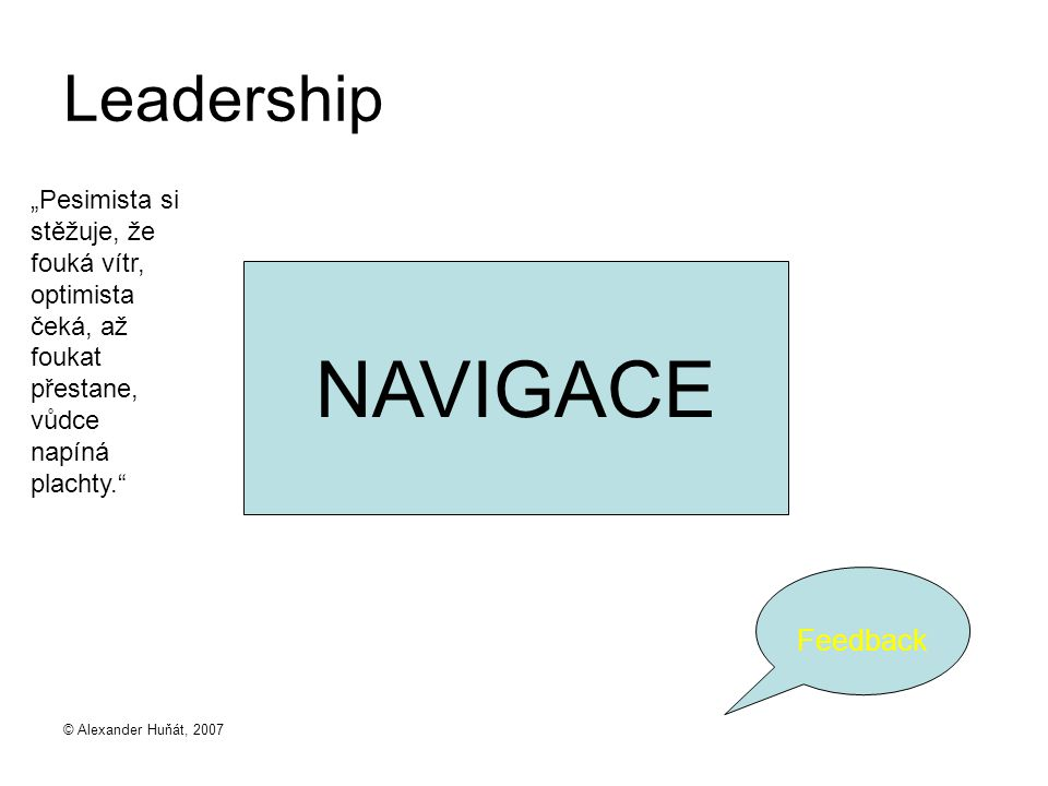 "NAVIGACE Leadership Feedback ""Pesimista si stěžuje, že fouká vítr,"