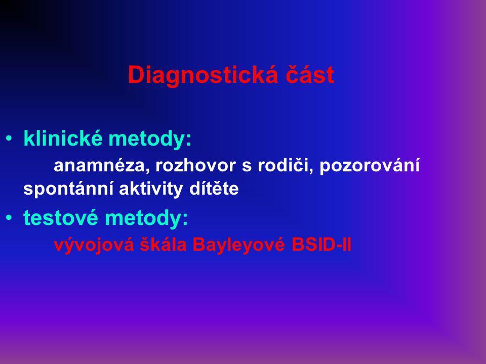Diagnostická část klinické metody: anamnéza, rozhovor s rodiči, pozorování spontánní aktivity dítěte.