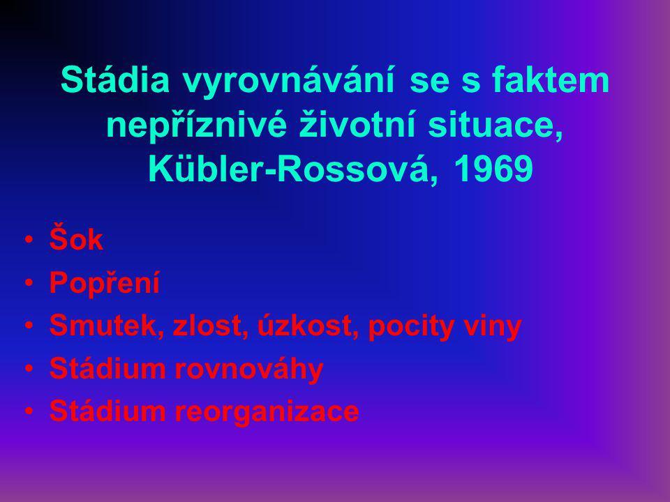Stádia vyrovnávání se s faktem nepříznivé životní situace, Kübler-Rossová, 1969