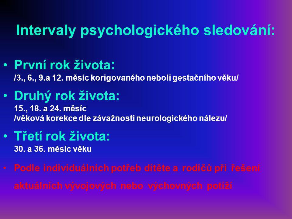 Intervaly psychologického sledování: