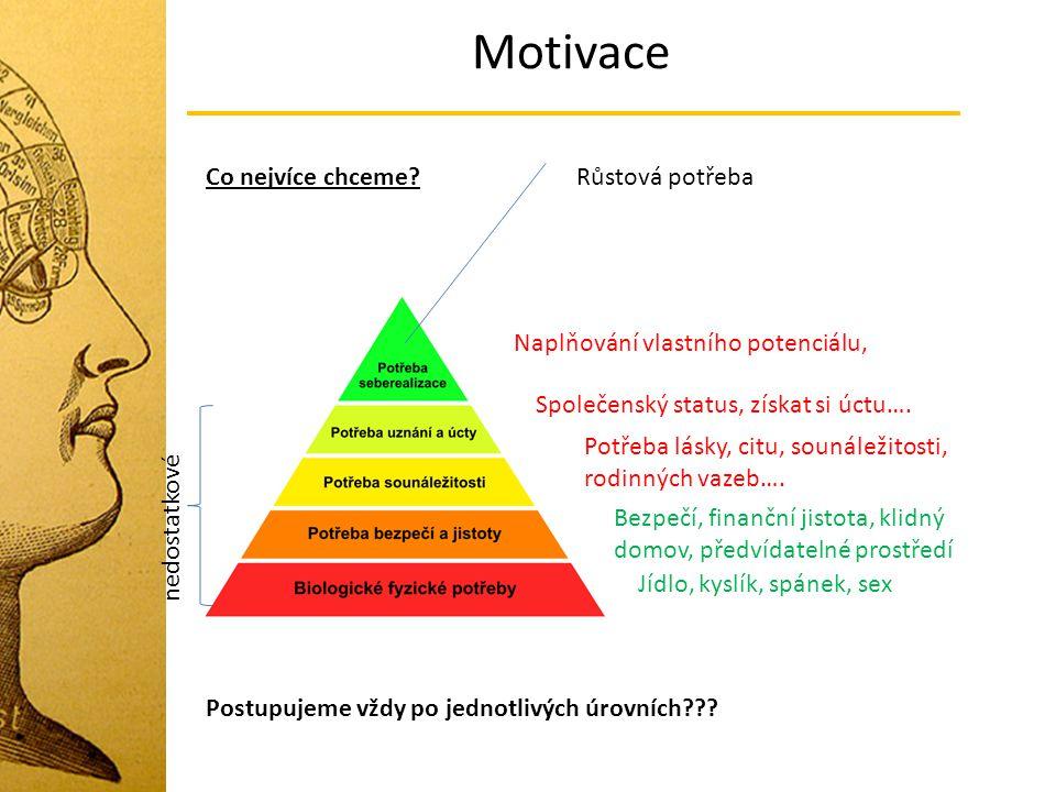 Motivace Co nejvíce chceme Růstová potřeba