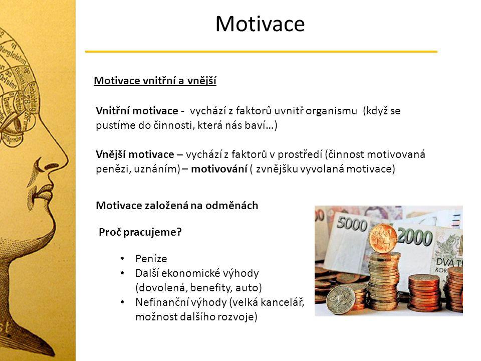 Motivace Motivace vnitřní a vnější