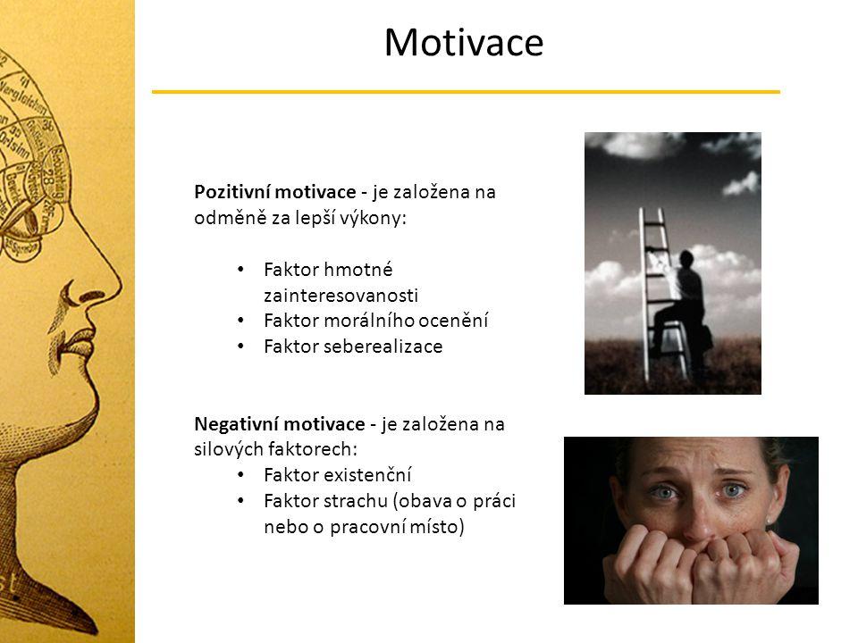 Motivace Pozitivní motivace - je založena na odměně za lepší výkony: