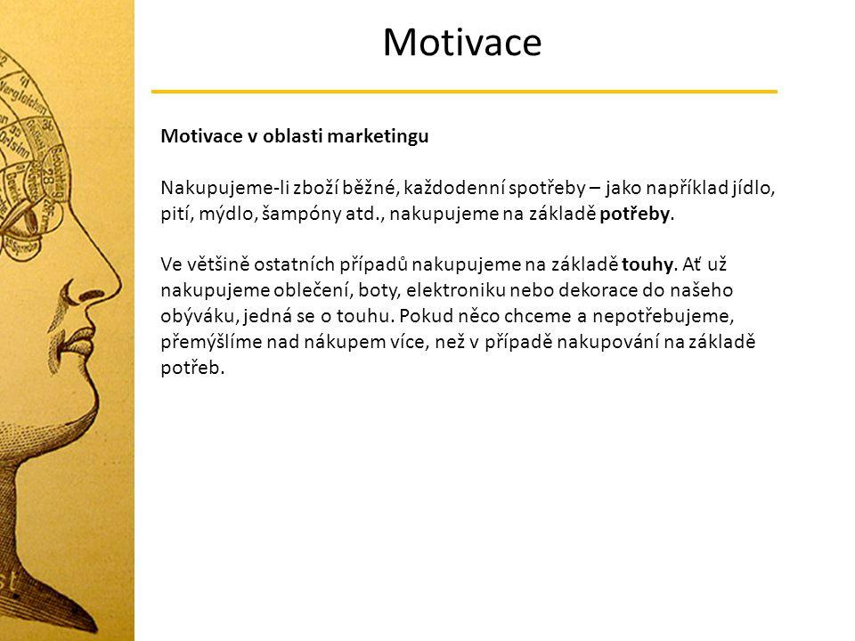 Motivace Motivace v oblasti marketingu