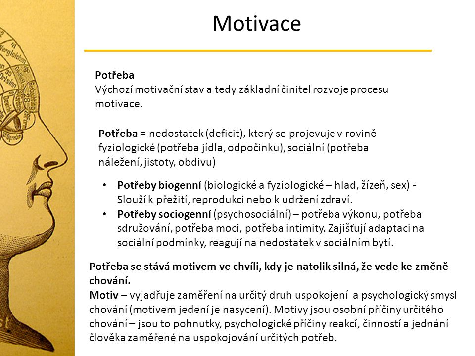 Motivace Potřeba. Výchozí motivační stav a tedy základní činitel rozvoje procesu motivace.