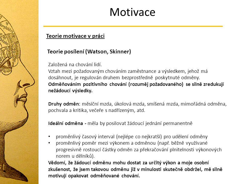 Motivace Teorie motivace v práci Teorie posílení (Watson, Skinner)