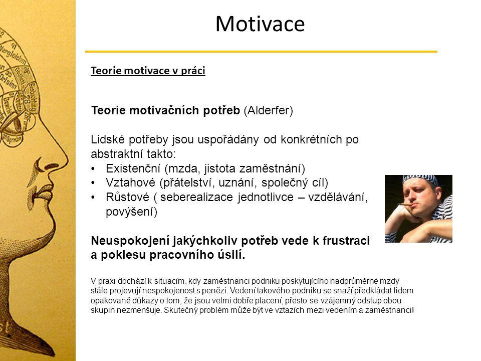 Motivace Teorie motivace v práci Teorie motivačních potřeb (Alderfer)