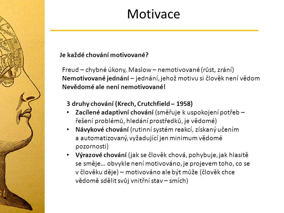 Motivace Je každé chování motivované
