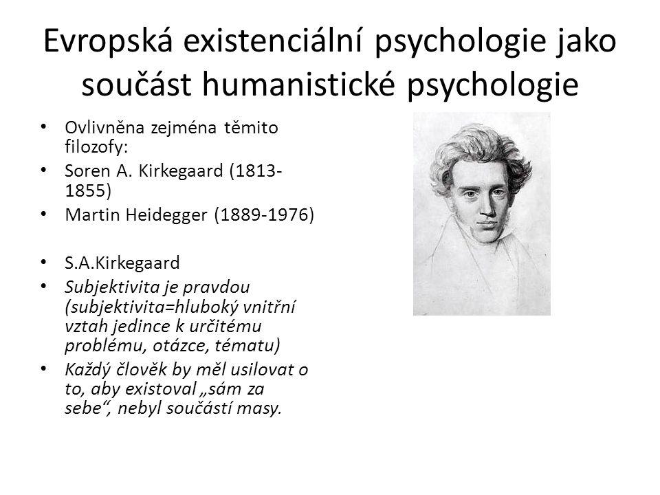 Evropská existenciální psychologie jako součást humanistické psychologie