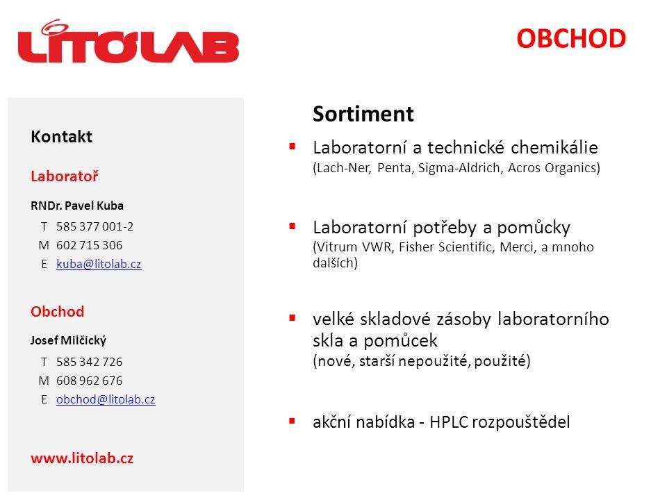 OBCHOD Sortiment. Laboratorní a technické chemikálie (Lach-Ner, Penta, Sigma-Aldrich, Acros Organics)
