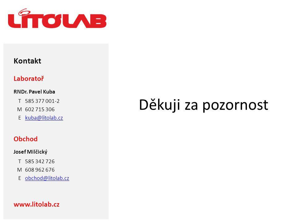 Děkuji za pozornost Kontakt Laboratoř Obchod www.litolab.cz