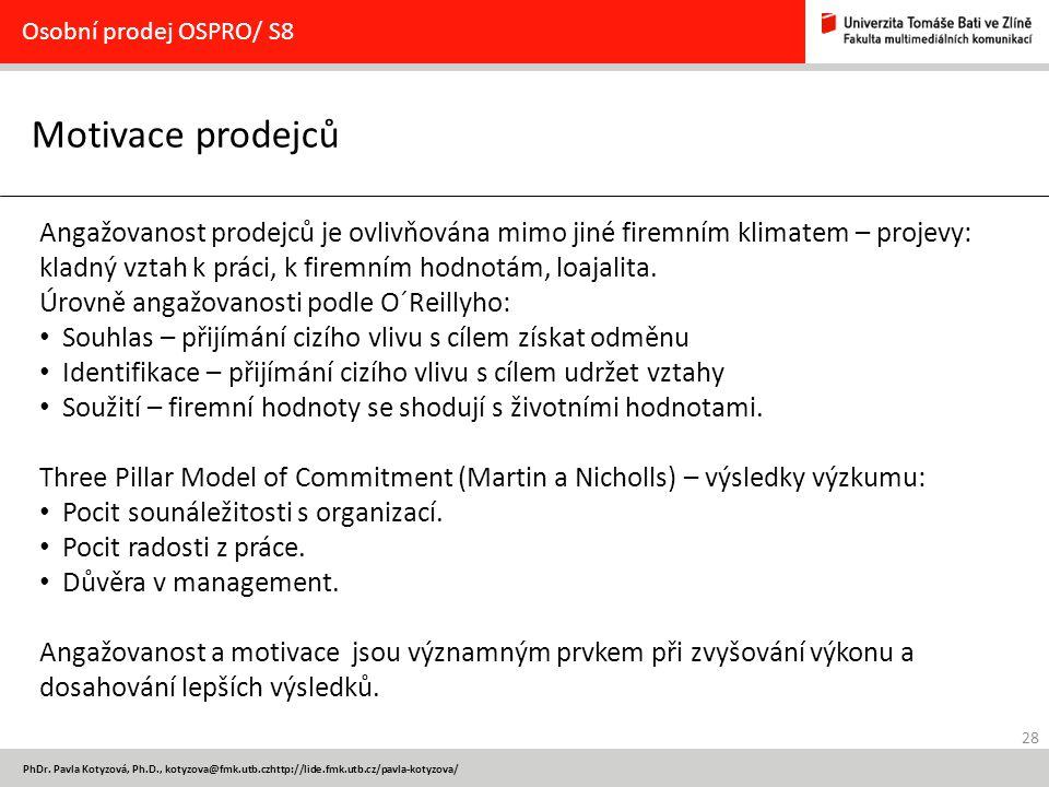 Osobní prodej OSPRO/ S8 Motivace prodejců.