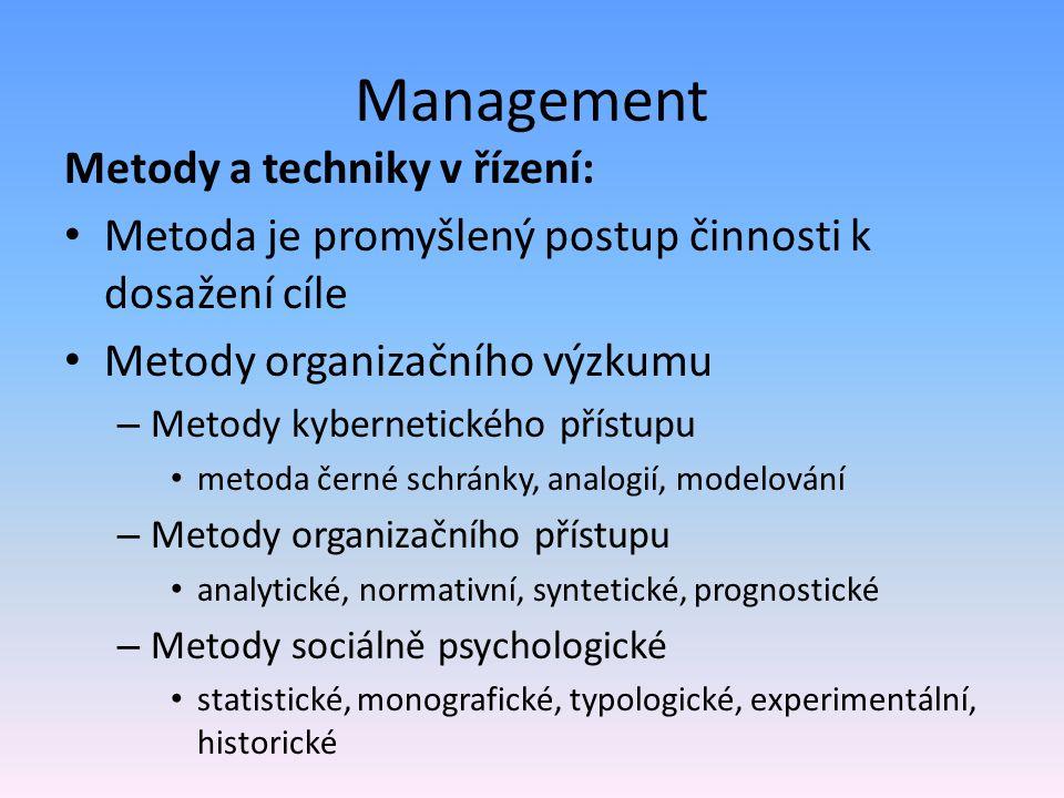 Management Metody a techniky v řízení:
