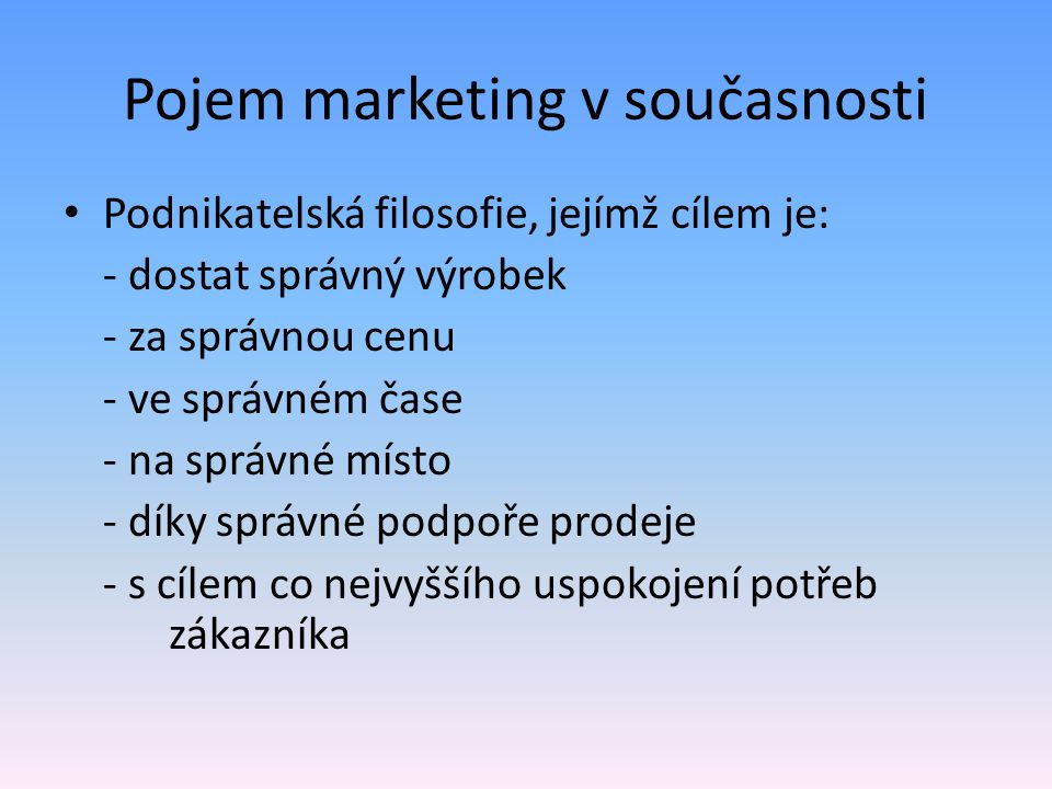 Pojem marketing v současnosti