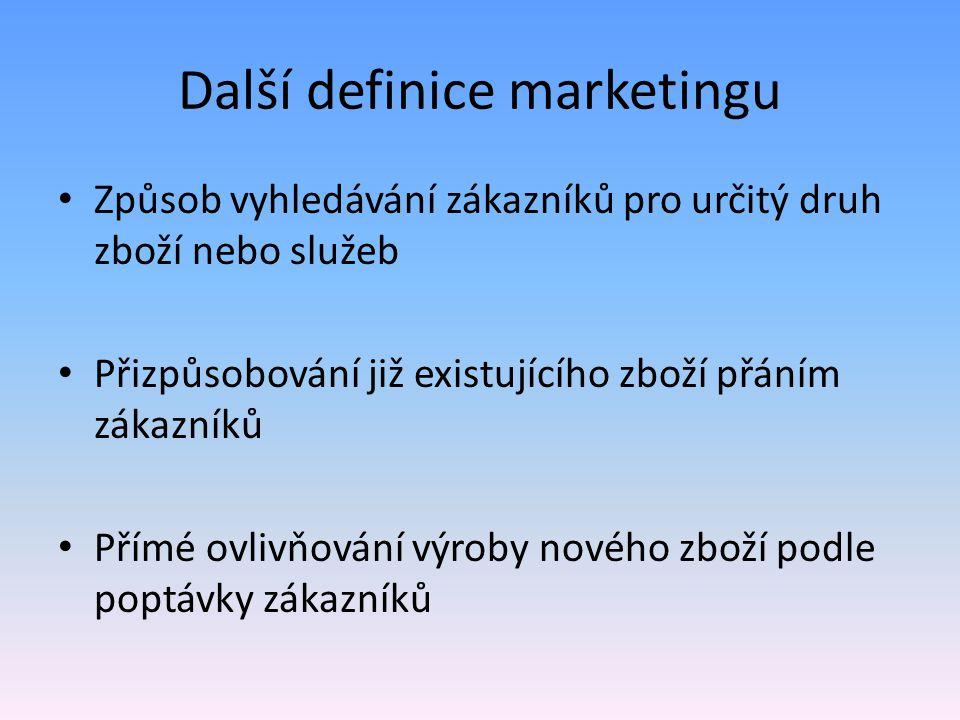 Další definice marketingu