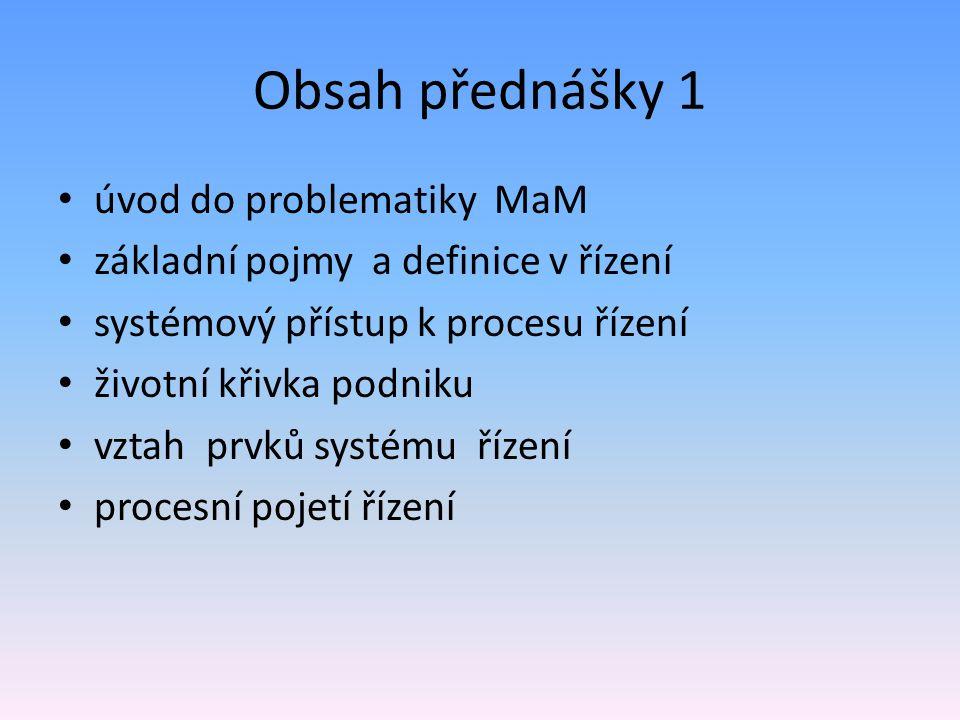 Obsah přednášky 1 úvod do problematiky MaM