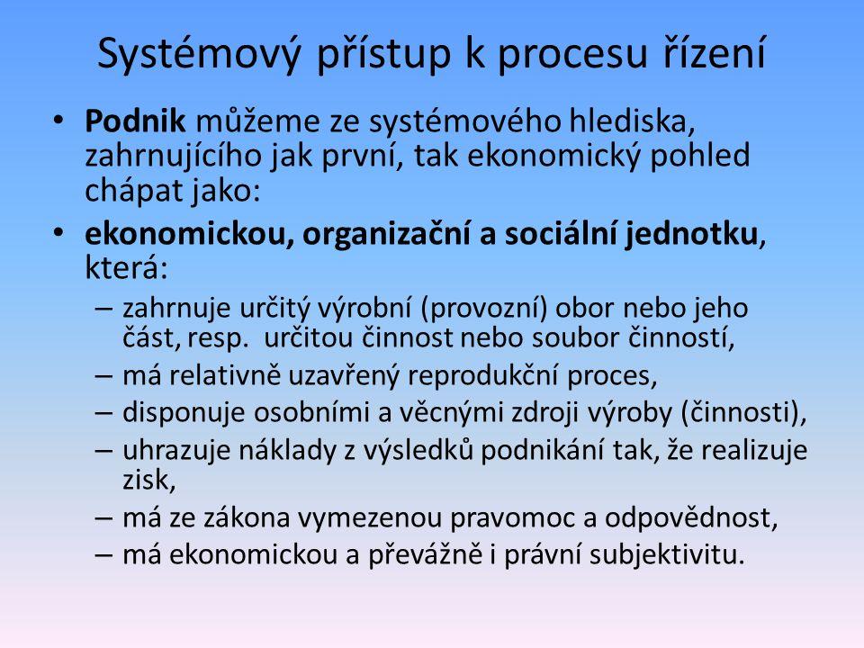 Systémový přístup k procesu řízení