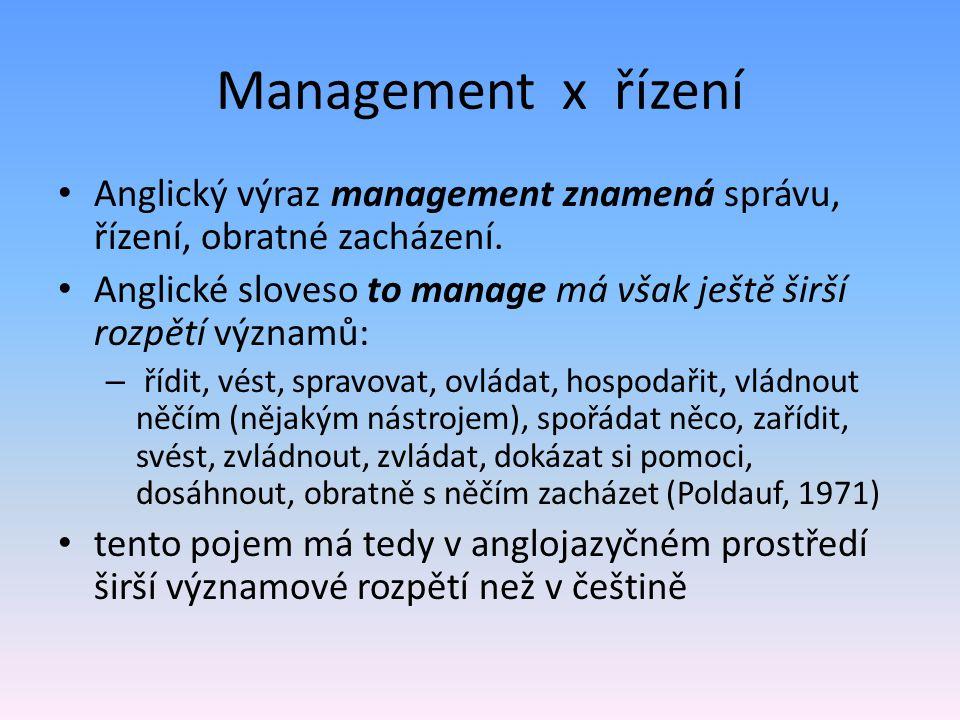 Management x řízení Anglický výraz management znamená správu, řízení, obratné zacházení.