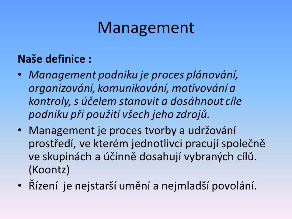 Management Naše definice :