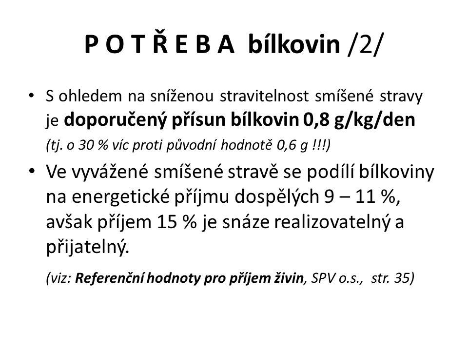 P O T Ř E B A bílkovin /2/ S ohledem na sníženou stravitelnost smíšené stravy je doporučený přísun bílkovin 0,8 g/kg/den.