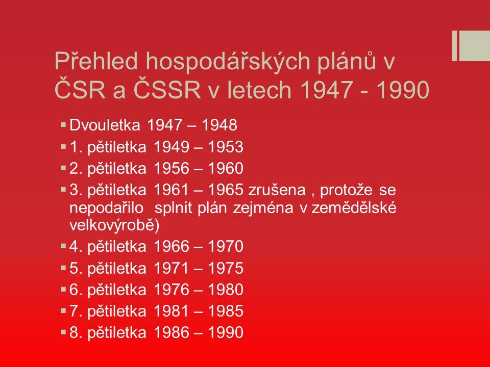 Přehled hospodářských plánů v ČSR a ČSSR v letech 1947 - 1990