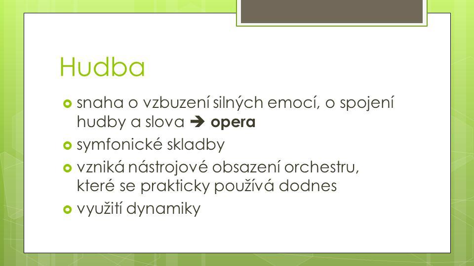 Hudba snaha o vzbuzení silných emocí, o spojení hudby a slova  opera