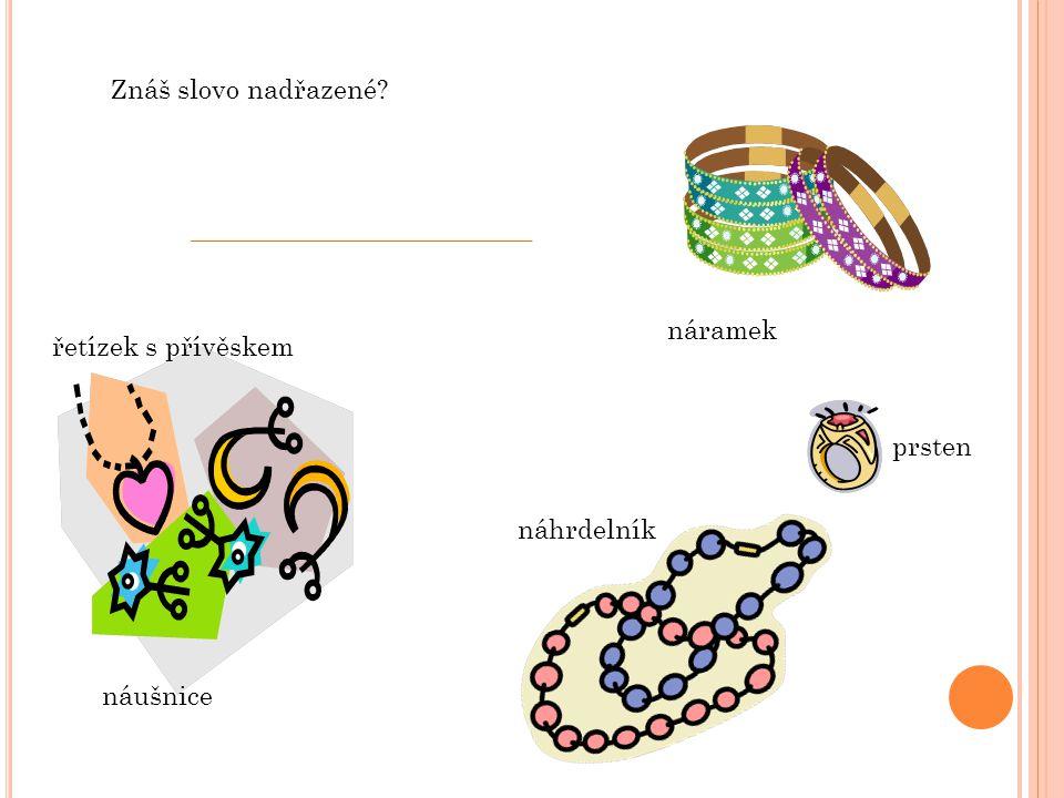 Znáš slovo nadřazené náramek řetízek s přívěskem prsten náhrdelník náušnice