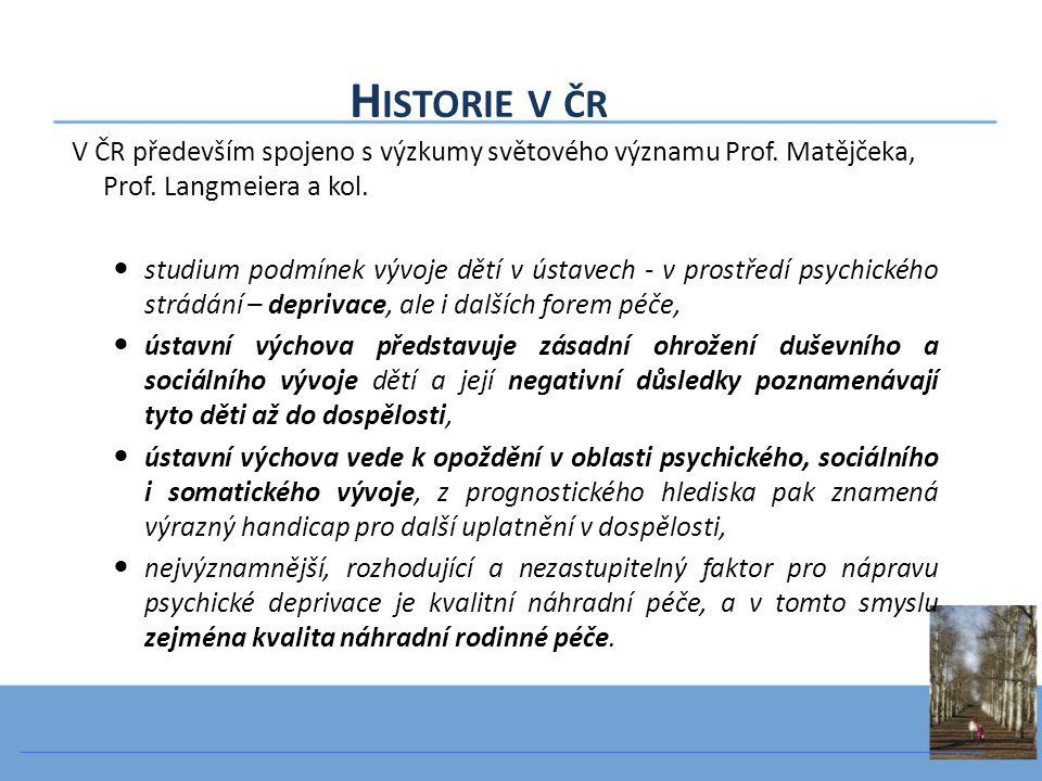 Historie v čr V ČR především spojeno s výzkumy světového významu Prof. Matějčeka, Prof. Langmeiera a kol.