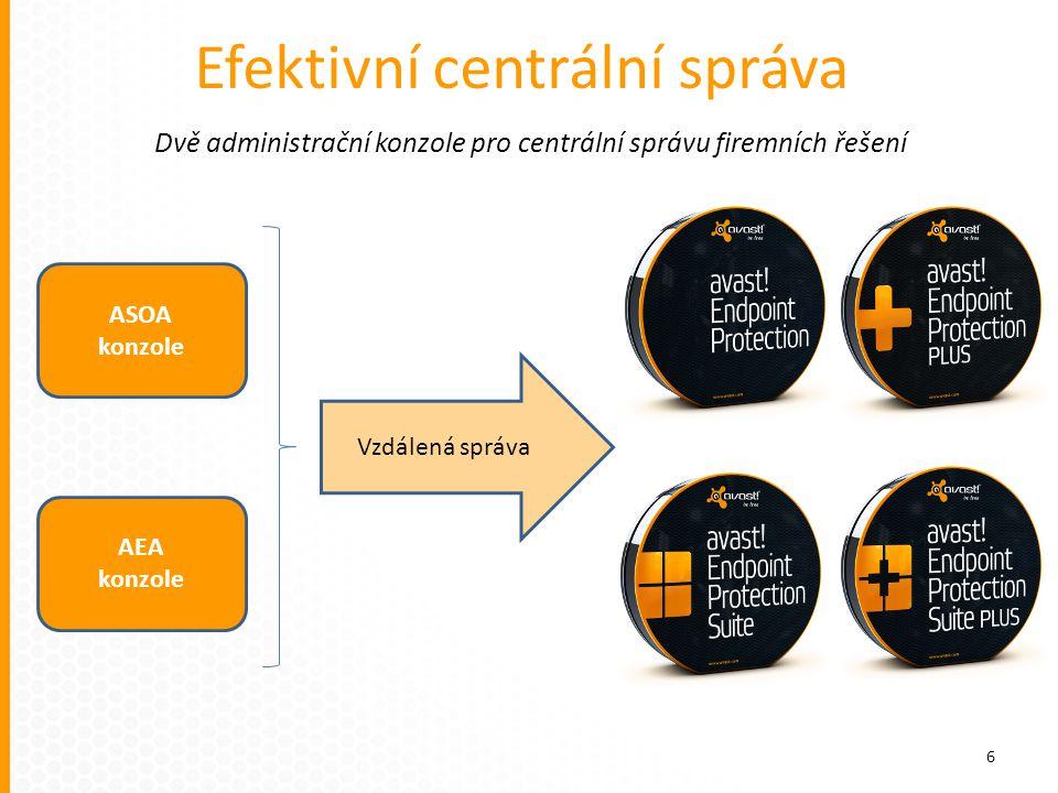 Dvě administrační konzole pro centrální správu firemních řešení