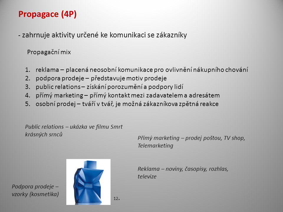 Propagace (4P) - zahrnuje aktivity určené ke komunikaci se zákazníky