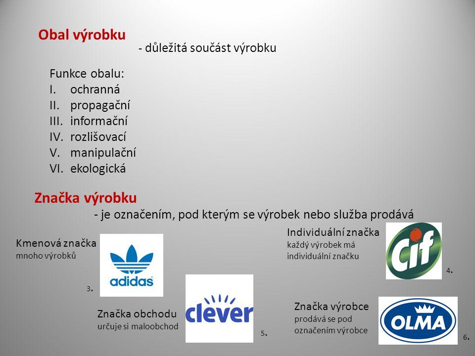 Obal výrobku Značka výrobku Funkce obalu: ochranná propagační