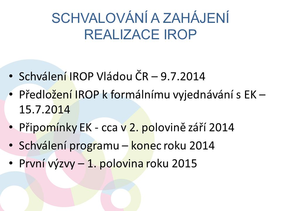 Schvalování a zahájení realizace IROP