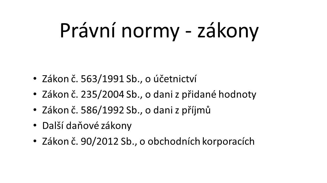 Právní normy - zákony Zákon č. 563/1991 Sb., o účetnictví